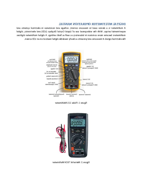 Comment utiliser le multimètre numérique ?